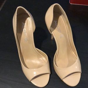 Beige Aldo open toe stilettos